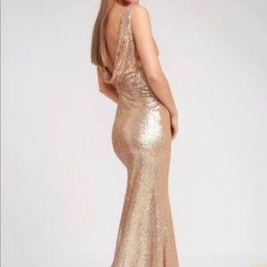 Lulu's Champaign Sequin Gown w/ Drape Plunge Back